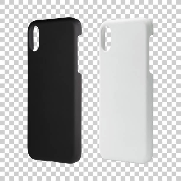 Mobile case isolated on transparent layer background. Blank phone cover for your design. Clipping paths object. stock photo