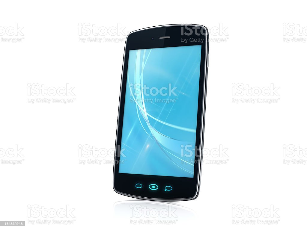 Mobile Cell Smartphone with blue background image - Right side royalty-free stock photo