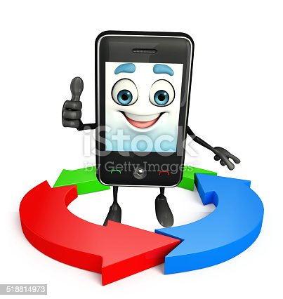 istock Mobile character with Arrow 518814973