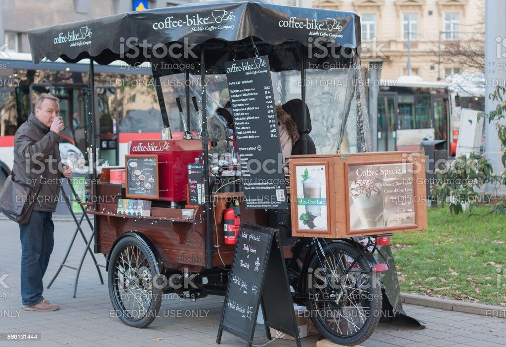 Mobile coffeebike at Christmas market stock photo