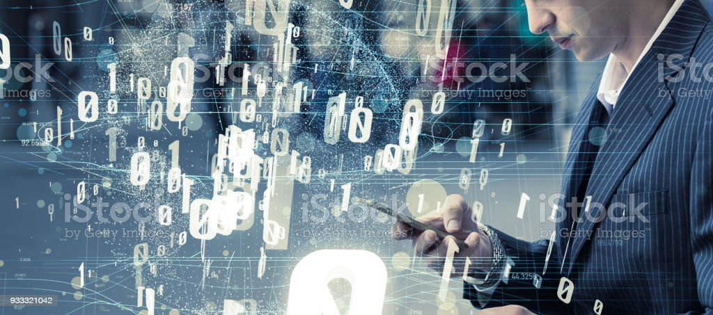 Mobile communication and digital data concept. stock photo