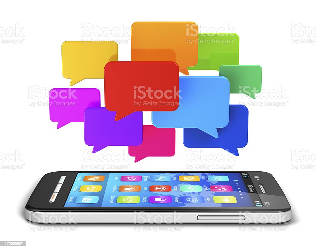 Mobile communication and social media concept royalty-free stock photo