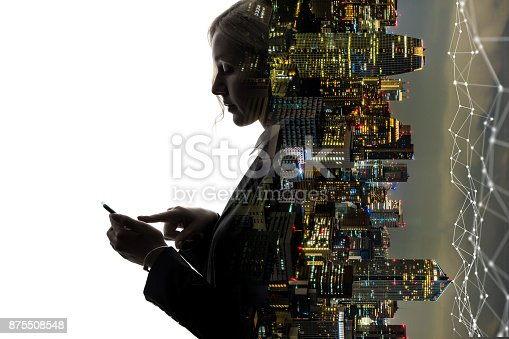 1054574034istockphoto Mobile communication network concept. Abstract double exposure. 875508548
