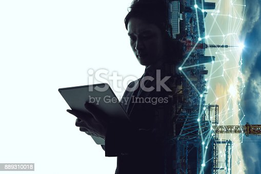 622809570 istock photo Mobile communication network concept. Abstract double exposure. 889310018