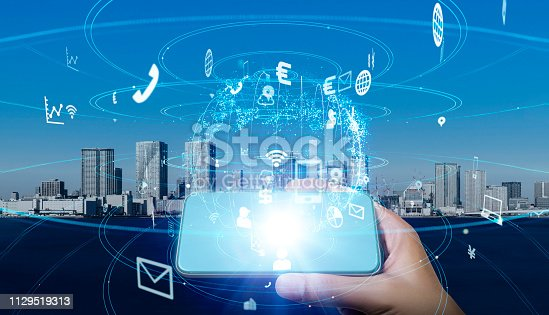 681672754 istock photo Mobile communication network concept. 1129519313