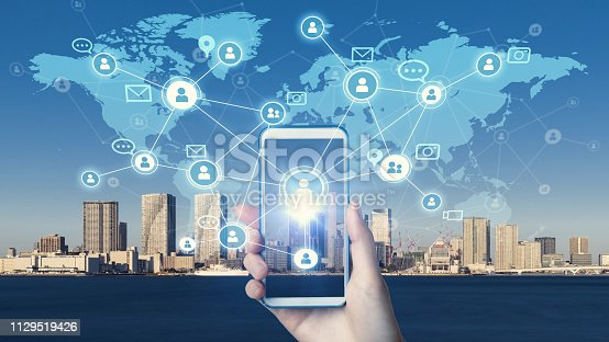 istock Mobile communication network concept. 1129519426