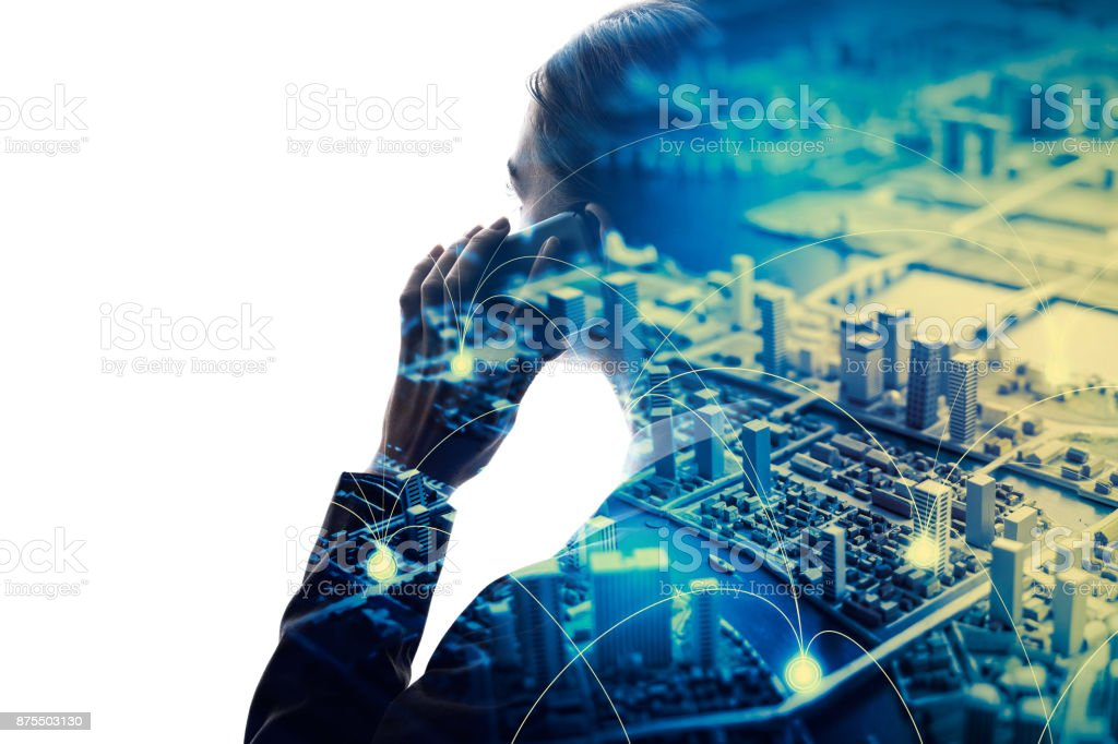 Mobile communication technology concept. stock photo