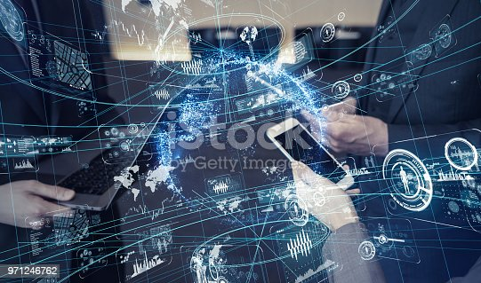istock Mobile communication technology concept. 971246762