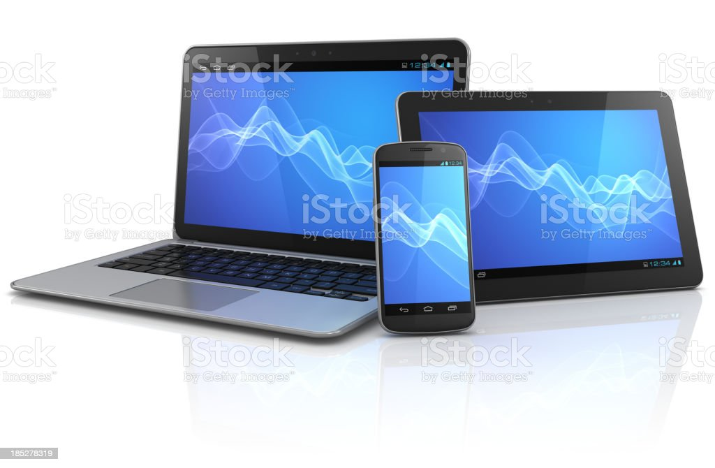 Dispositivos de computação móvel com fundo de onda azul - foto de acervo