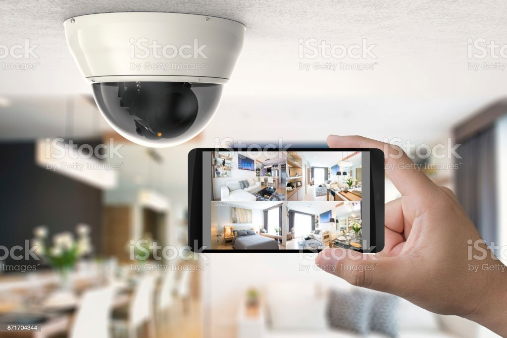 mobile connect with security camera vector art illustration