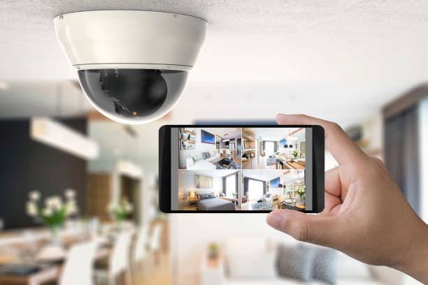 mobile connect with security camera stock photo