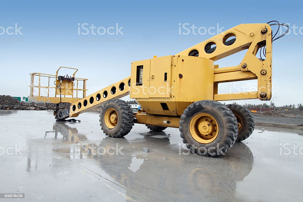 Mobile Construction Crane With Reflection On Construction Site stock photo
