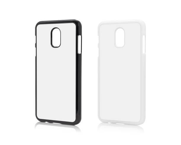 Mobile cover isolated on white background. Blank phone case for printing. ( Clipping paths ) stock photo