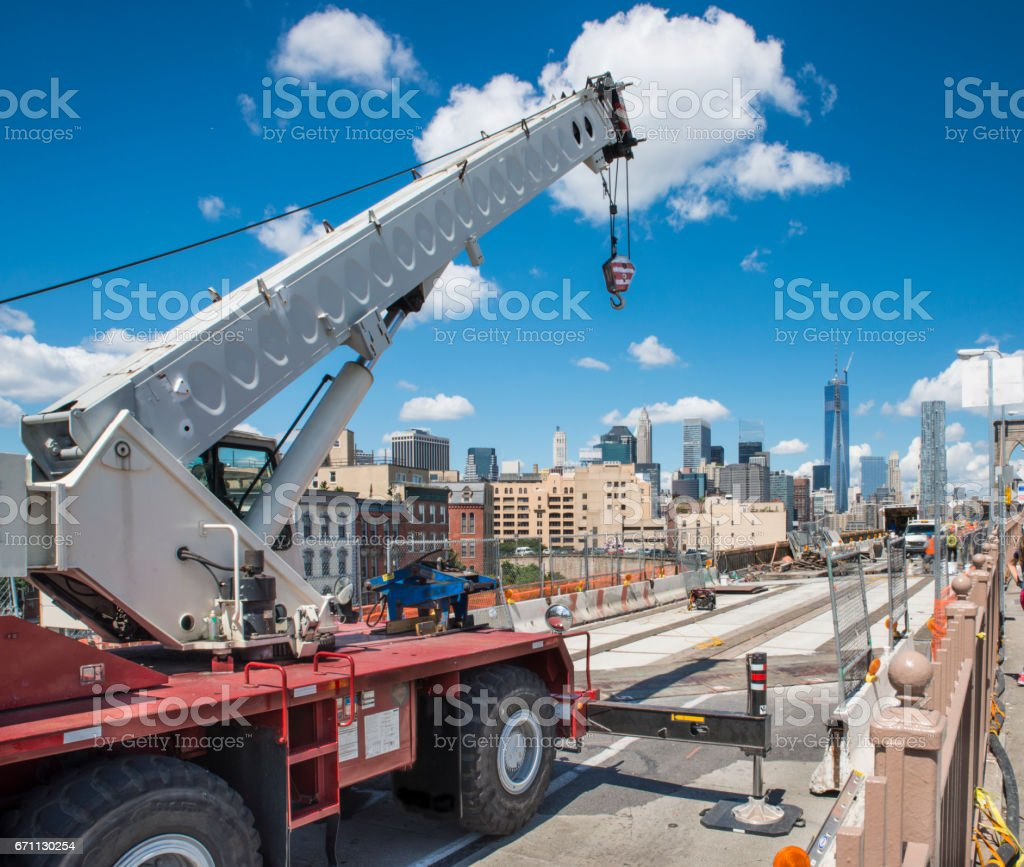 Mobile crane at Brooklyn Bridge construction stock photo