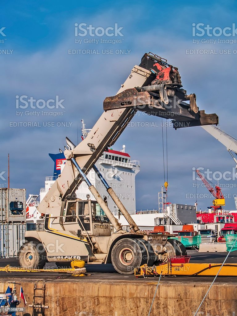Mobile crane at docks royalty-free stock photo