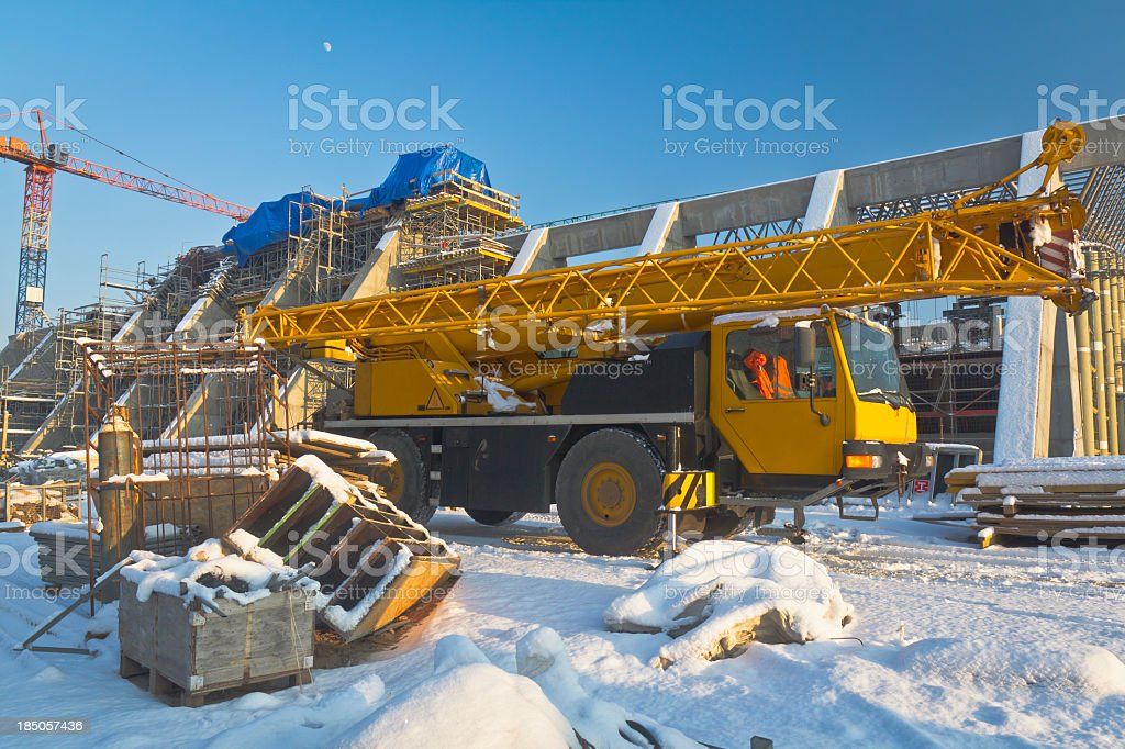 Mobile Crane in Construction Site royalty-free stock photo