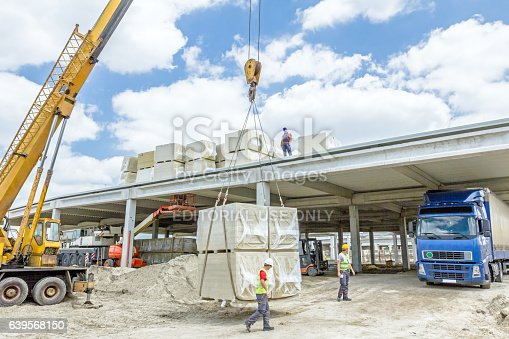 Zrenjanin, Vojvodina, Serbia - May 29, 2015: Building activities during construction of the large complex shopping mall
