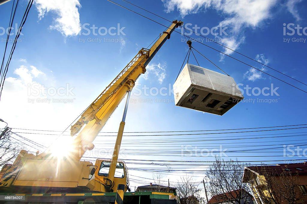 Mobile crane Betrieb von Heben und bewegen Elektrischer generator – Foto