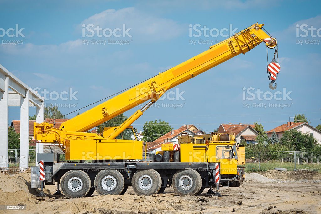 Mobile crane stock photo