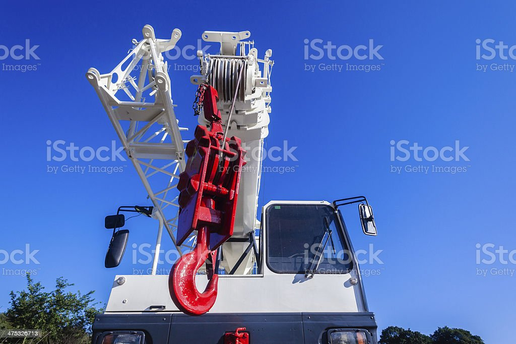 Mobile Crane Red White Hook royalty-free stock photo