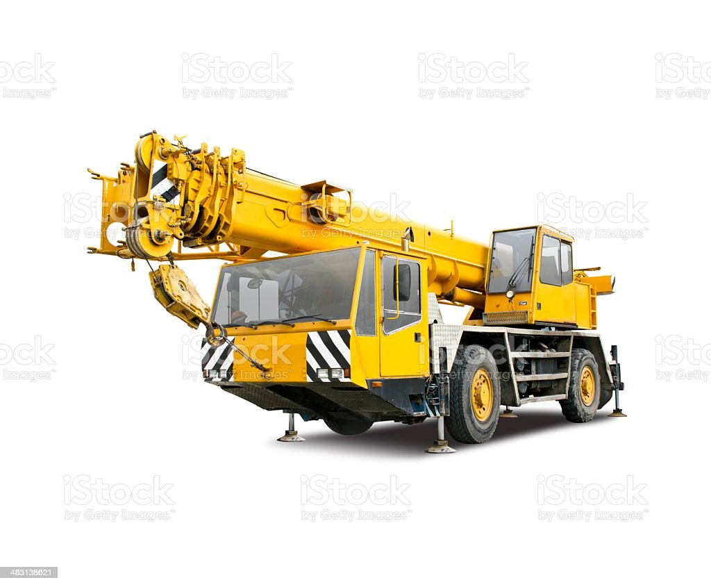Mobile crane truck stock photo