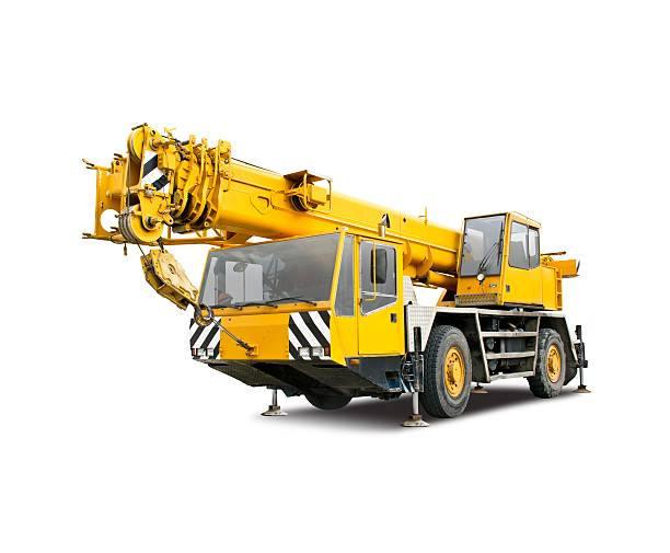 Mobile crane truck Mobile crane truck isolated on white mobile crane stock pictures, royalty-free photos & images