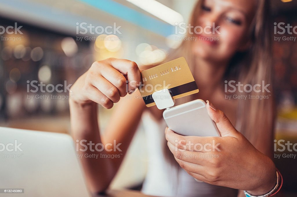Mobile credit card processing stock photo