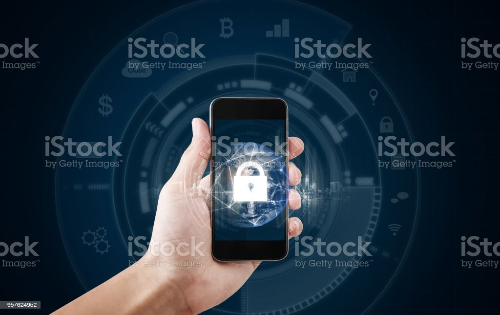 Mobile device security and internet connection . Hand using mobile smart phone and lock icon. Element of this image are furnished by NASA stock photo