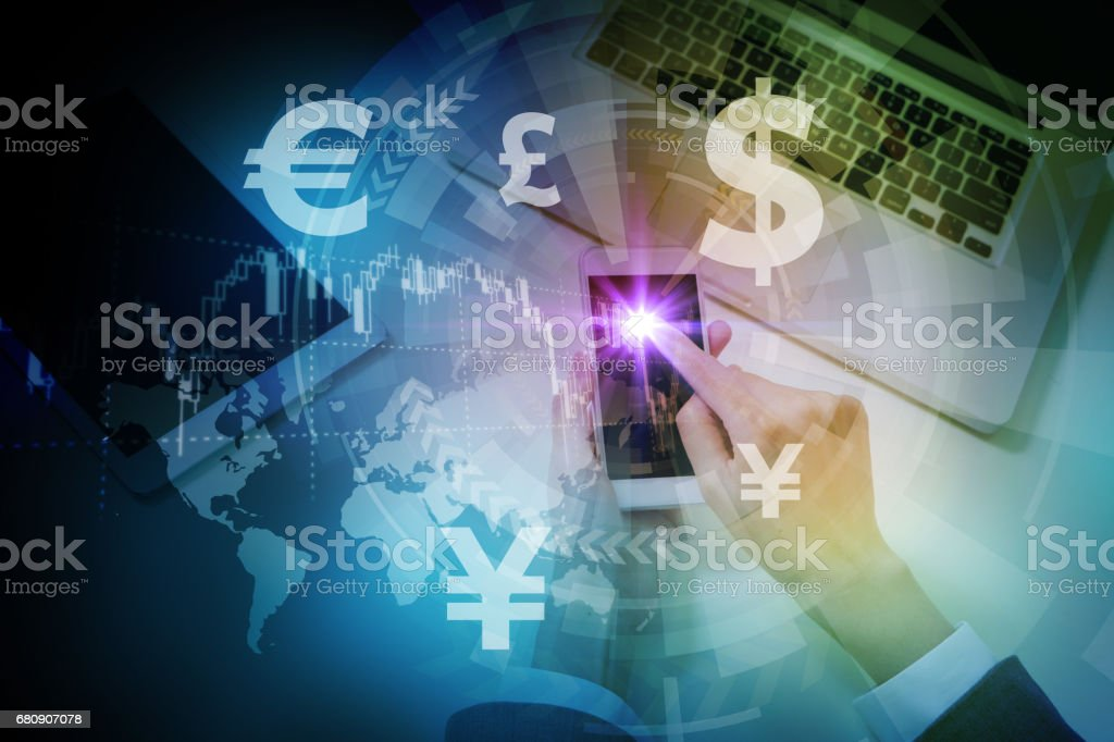 mobile devices and financial technology concept royalty-free stock photo