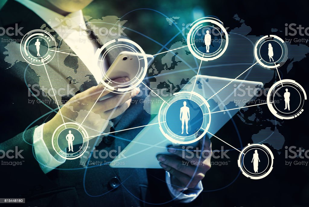 mobile devices and Social Networking Service concept, abstract image visual stock photo