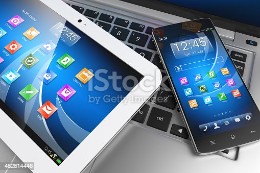 istock Mobile devices. Tablet PC, smartphone on laptop, technology concept 482814446
