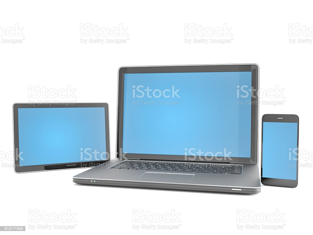 Mobile Devices with clipping path stock photo