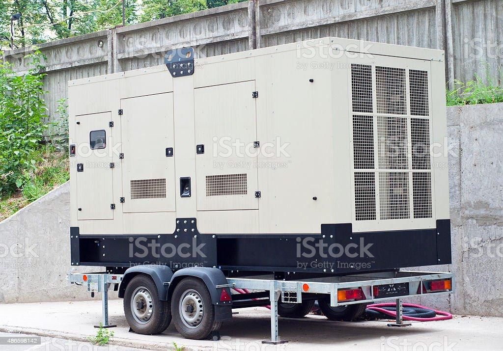 Mobile Diesel Backup Generator for Office Building stock photo
