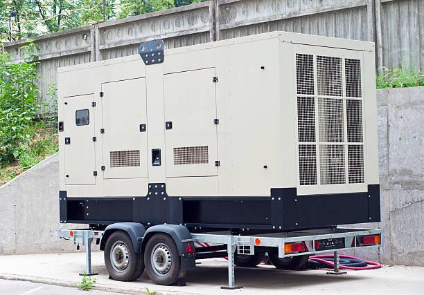 mobile diesel-generator für office building - generator text stock-fotos und bilder