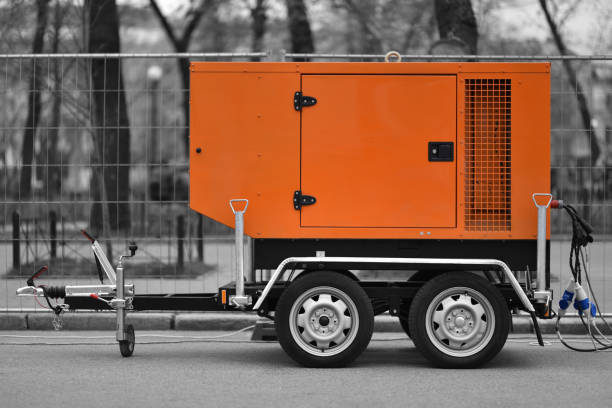 mobile diesel electric generator stock photo