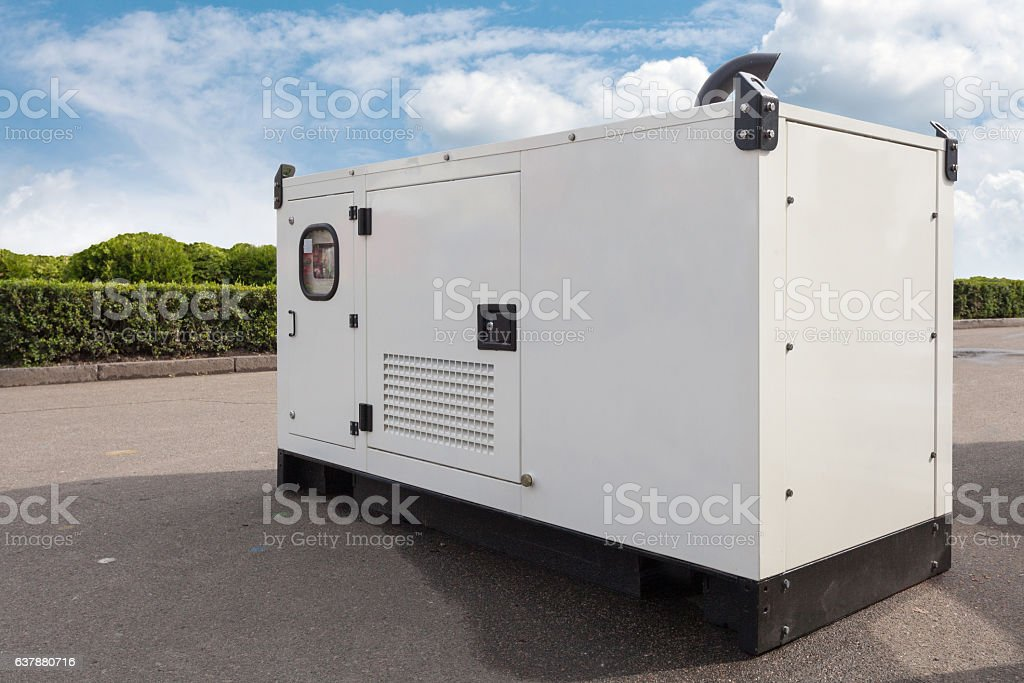 Mobile diesel generator for emergency electric power stock photo