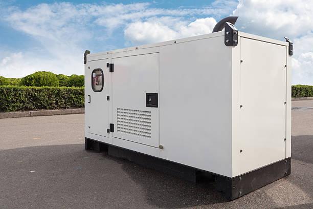 mobile diesel generator for emergency electric power - generadores fotografías e imágenes de stock