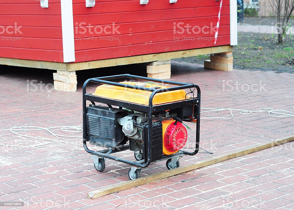 Mobile Diesel Generator on the Building Site Background stock photo