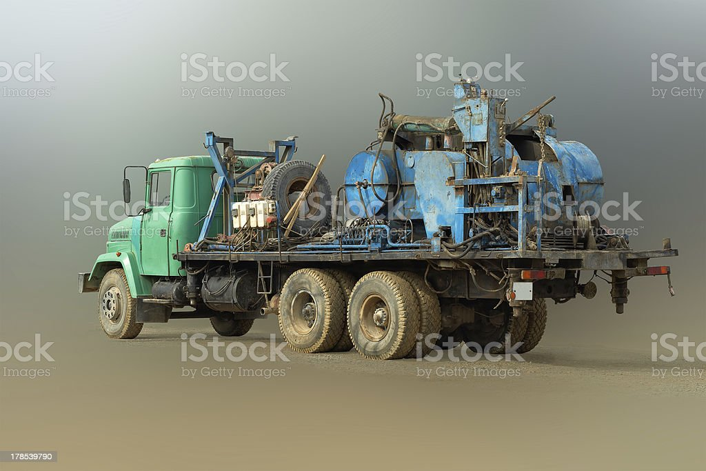 Mobile drilling rig. stock photo