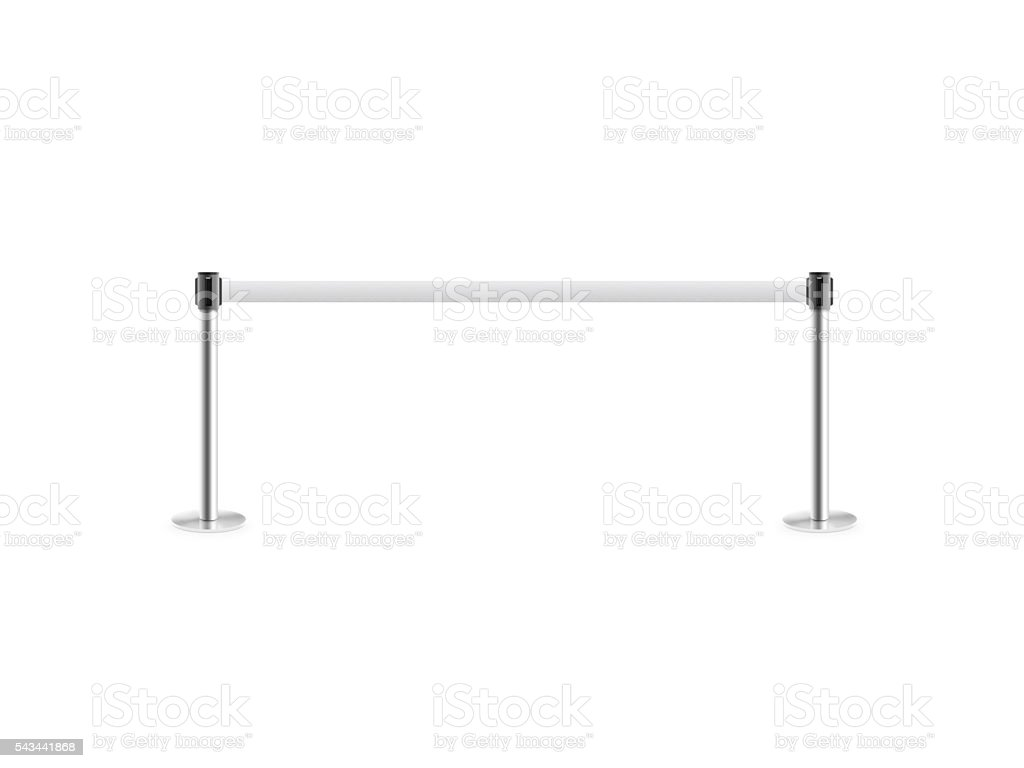 Mobile fence barrier stand isolated on white. stock photo