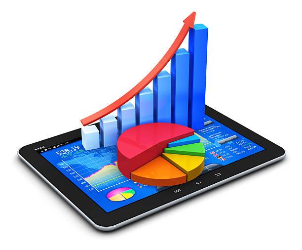 concetto mobile finanza e statistiche - diagramma a colonne foto e immagini stock