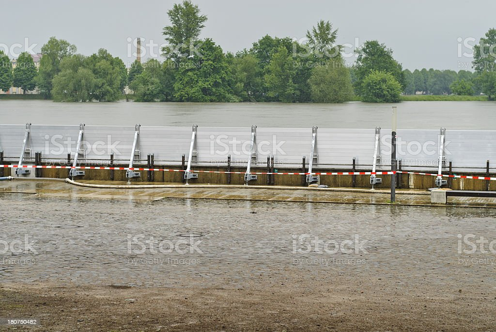 Mobile flood protection walls royalty-free stock photo