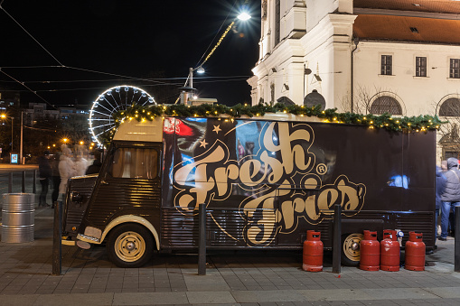 Mobile food van at Christmas market at Moravian Square