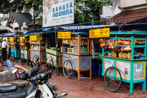 Mobile fruit and dessert kiosks on the Malioboro Street stock photo