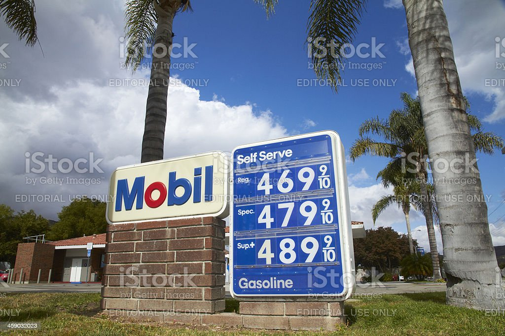 CA mobile gas prices sign vertical stock photo