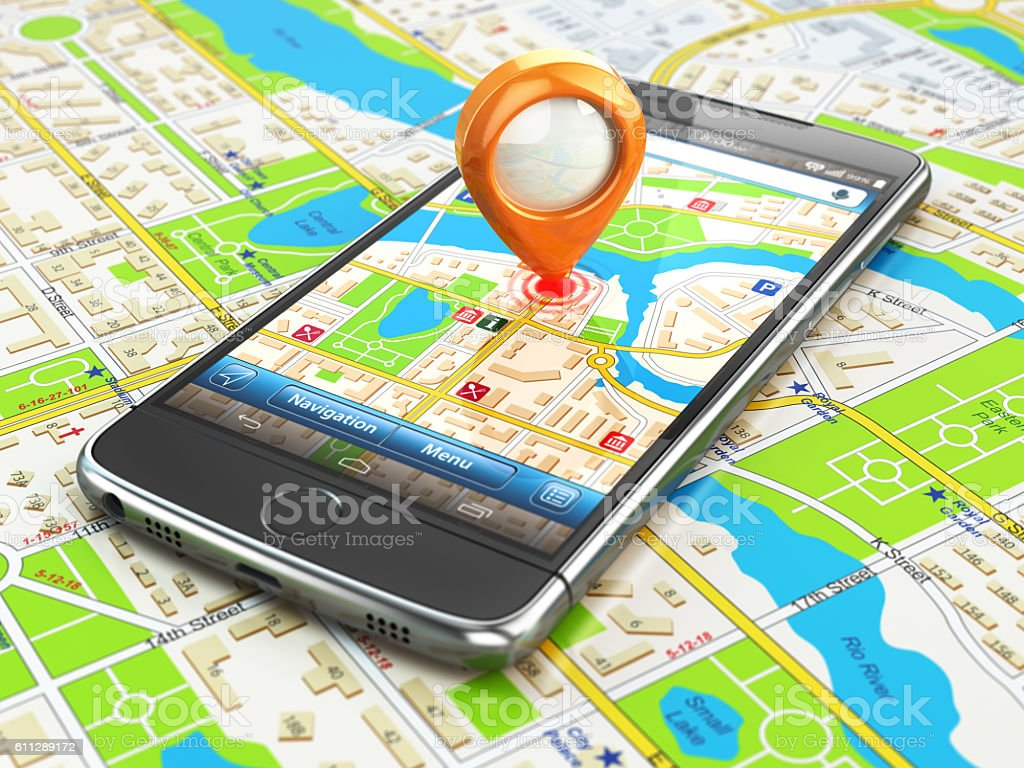 Mobile GPS navigation travel concept. Smartphonewith pin on city - Photo