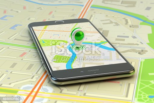 istock Mobile gps navigation, travel destination, location and positioning concept 493553150