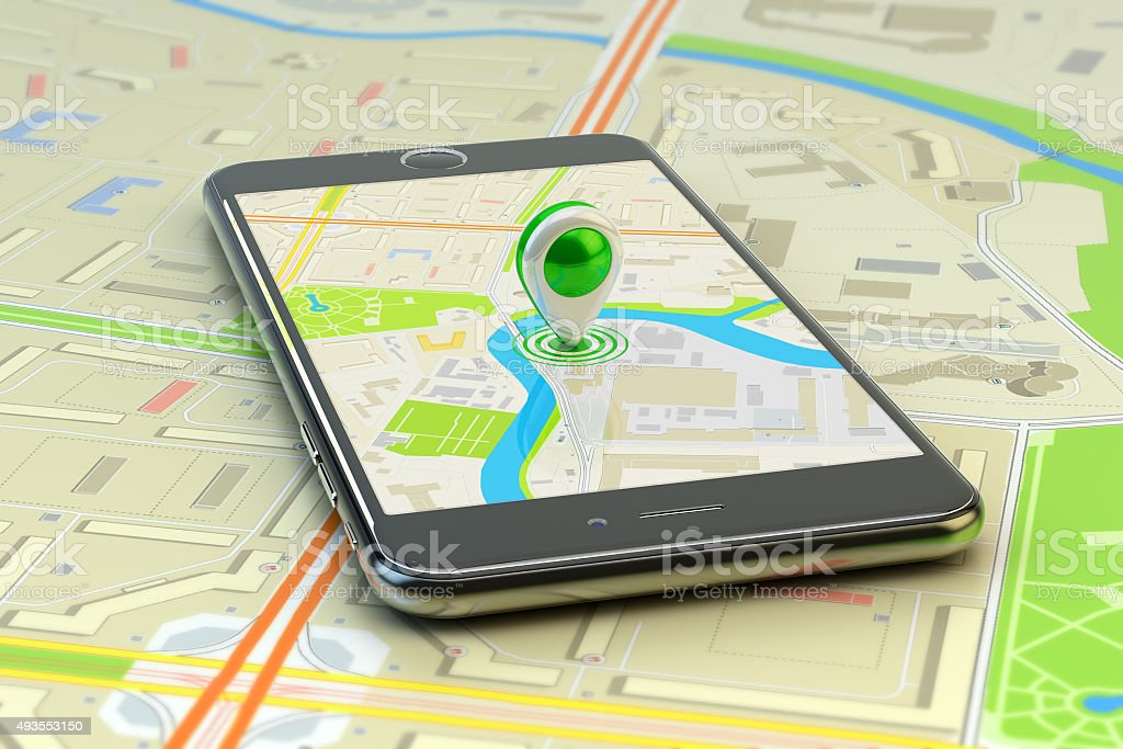 Mobile gps navigation, travel destination, location and positioning concept bildbanksfoto