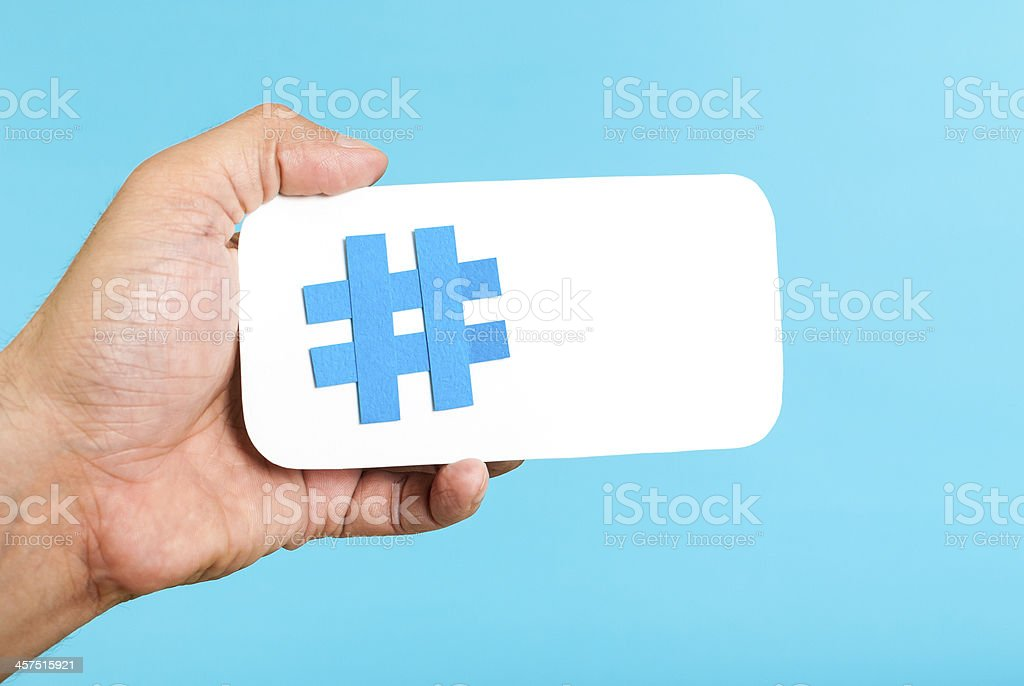 Mobile hashtag horizontal concept stock photo