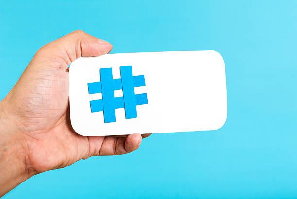 Mobile hashtag horizontal concept stock photo